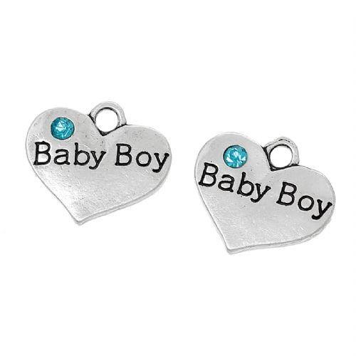 "5  Antique Silver Heart Charms""Baby Boy"" Carved Sky Blue Rhinestone 16mm x 14mm"